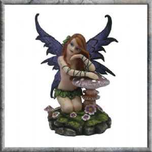 Fairy~Fantasy Faery Tina Semi Nude Tattooed Fairy with Toadstool & Flowers~NEM3164